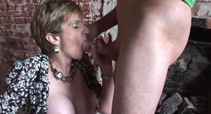 Lusty mature slut gets fucked and takes a cumshot on her big tits