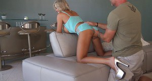 Salacious wife with big jugs gets fucked and sucks off a hard dick