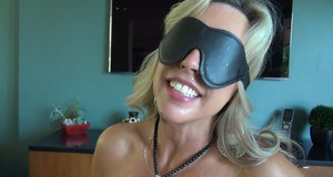 Blindfolded MILF shows off her deepthroat skills and gets facialized