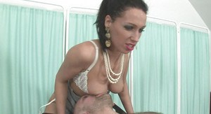 Fuckable brunette femdom has some dirty fun with her submissive male pet