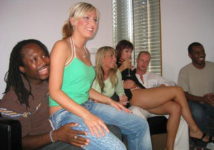 Promiscuous lassies enjoy a dirty groupsex party with horny lads