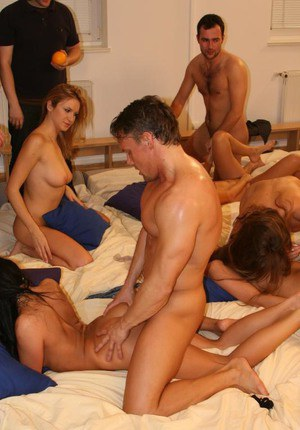 Naughty gals enjoy a passionate groupsex at the party with lewd guys