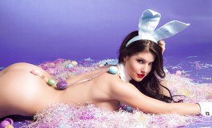 Sweet bunny babe Amanda Cerny slipping off her lingerie and pantyhose
