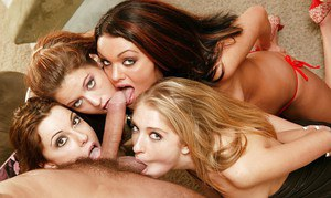 Ravishing sex-hungry MILFs enjoy a fervent sex orgy with studly lads
