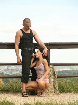 Lusty chick gets caught on a voyeur video fucking a hard cock outdoor