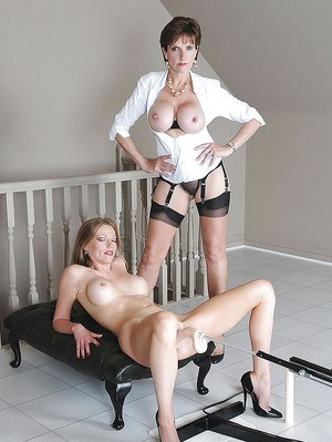 Mature fetish lady helps her busty friend pleasing her shaved cunt