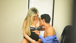 Busty office lady Jenna Cruz gives head and gets shagged tough