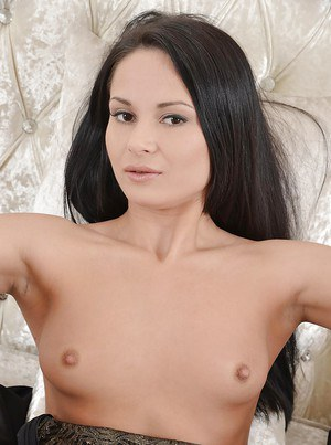 Slim babe Kristall Rush revealing her tiny tits and inviting love holes