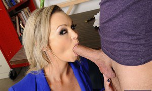 Hot teacher Abbey Brooks gets fucked and takes a cumshot on her huge jugs
