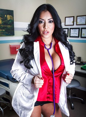 Voluptuous latina doctor with amazing big jugs Kiara Mia getting naked