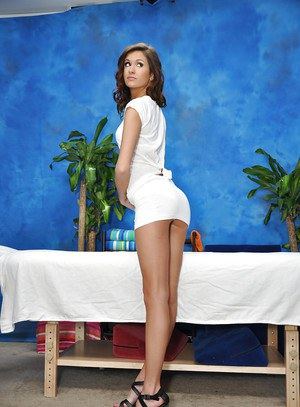 Slippy brunette babe with tiny tits gets rid of her dress and lingerie