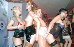 Salacious MILFs in lingerie have some lesbian fun at the wet party