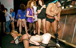 Salacious MILFs have some lesbian fun at the drunk party