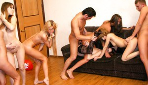 Sex-hungry coeds getting satisfied at the drunk party with horny lads