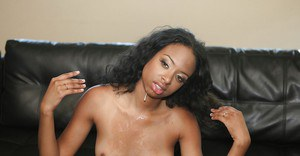 Ebony sugar Desire Ware enjoys a hard dick filling her mouth and pussy