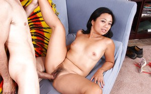 Asian slut Lucky Starr gets fucked and jizzed over her hairy cooter