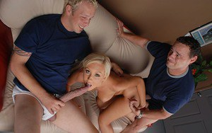 Hot MILF has fun with two huge dongs and gets jizzed over her face and body