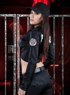 Hot latina chick taking off her police uniform and spreading her legs