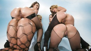 Four jaw-dropping sexy MILFs with amazing fannies posing in nylon outfits