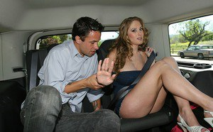 Gorgeous picked up MILF Abby Rode gives a sloppy blowjob in the car