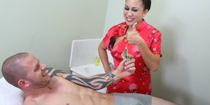 Juggy asian masseuse Kayme Kai gets fucked by her naughty client