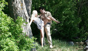 Sultry blonde teen gets shagged and jizzed over her rack outdoor