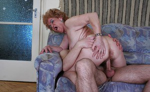 Curly-haired granny with hairy cunt has some rimming and twatting fun