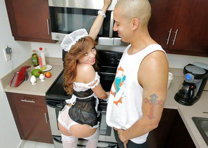 Petite teen in maid uniform Aurora Monroe gives a sensual blowjob