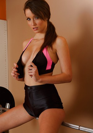 Hot babe Malena Morgan taking off her sport outfit and teasing her slit