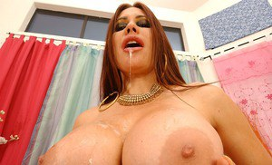 Latina vixen Sheila Marie gets fucked and jizzed over her huge boobs