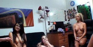 Naughty coeds have some stripping fun at the dorm room party