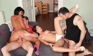 Sexy gal Nia Black enjoys foursome groupsex with her european friends