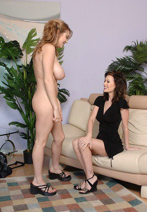 Juggy MILF has some lesbian fun with her young full-bosomed friend
