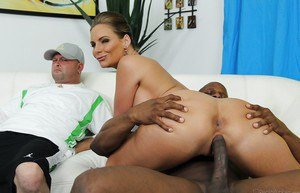 Phoenix Marie enjoys a big black cock filling her mouth and shaved cunt