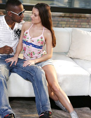 Teenage anal slut with slippy curves blows and fucks a black boner outdoor