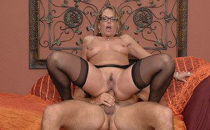 Lewd MILF in glasses gives a deepthroat blowjob and gets anal banged