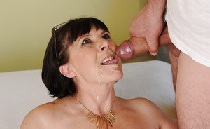 Slutty granny with shaggy cunt gets fucked and takes a facial cumshot