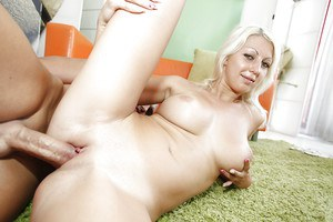 European slut Pamela Blond enjoys a big boner slamming her shaved twat