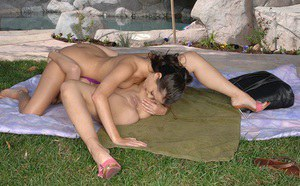 Top-heavy MILF has some lesbian fun with her svelte friend outdoor