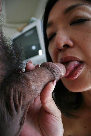 Asian shrew Chiyo Yamabe gives a blowjob and gets her hairy cunt shafted