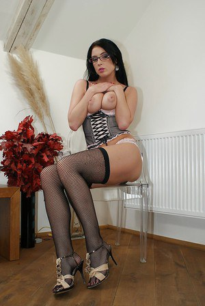 Stracy Stone exposing her flawless curves covered with lingerie and nylon