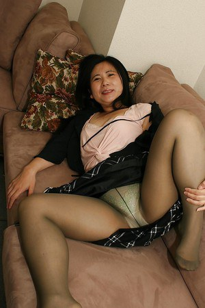 Naughty asian lady in pantyhose Yasuko Watanabe uncovering her chubby curves