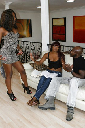 Frisky ebony hotties sharing a big black boner and a sticky cumshot
