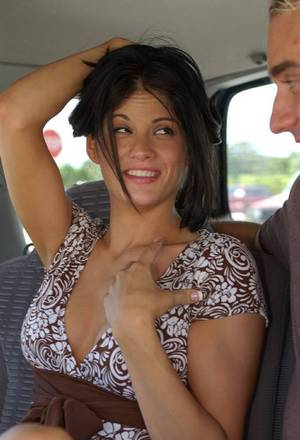 Stunning latina chick in fancy dress gives a proper blowjob in the car