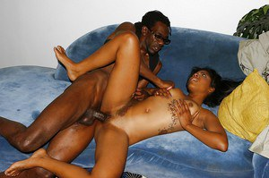 Ebony sweetie Tiffan Monroe gets her hungry pussy pleased with a big boner