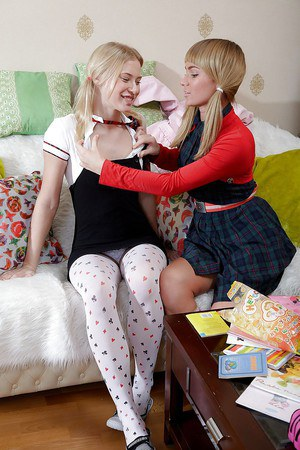 Naughty schoolgirls have some lesbian fun playing with their sex toys