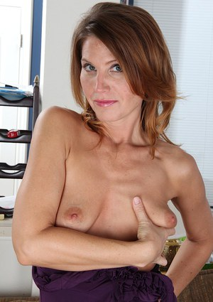 Svelte MILF Sky Rodgers striping down and spreading her pussy lips