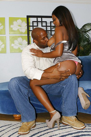 Tatiana Hope fucks a huge black boner and takes a cumshot on her jugs
