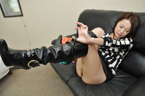 Asian MILF Aya Nakano takes off her panties and has some pussy toying fun