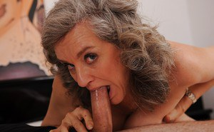 Slutty granny gets her hairy twat cocked up and tastes a cumshot
